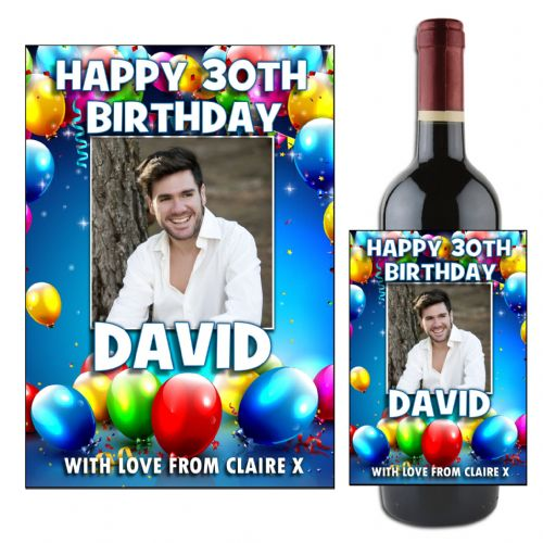 Personalised Balloons Happy Birthday Wine / Champagne Bottle PHOTO Label N114 - ANY AGE!